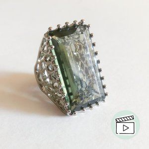 Jewelmint Silver Olive Crystal Cocktail Ring